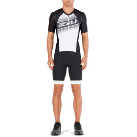 2XU Compression Full Zip Sleeved Trisuit Men black/white logo graphic